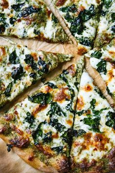 KALE PESTO PIZZA. 15 Clean-Eating Pizza Recipes That Taste Way Less Healthy Than They Are #purewow #healthy #pizza #recipe #health #food #cleaneating #pizzarecipes #healthyrecipes #healthydinners #quickdinners #healthypizzas #pestopizza