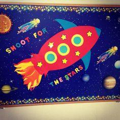Bulletin boards , kindergarten , school, Rocket , preschool, winter, autumn, spring, summer, sky, stars, reach the stars, Cambridge School of Bucharest , Shoot for the Stars