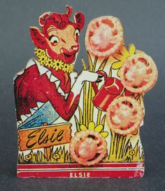 Elsie The Cow Borden Dairy Co Wood Block Mounted Ad