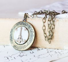 Eiffel Tower Locket Paris Mother of Pearl -  by Classic Keepsakes - Upcycled Jewely