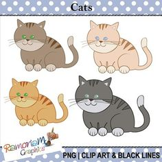 Free cats Clip art. 9 PNG images, each is 300dpi in Black & White, colored with colored outlines and colored with black outlines