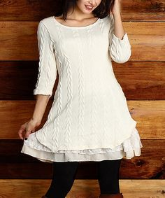Look at this #zulilyfind! Winter White Cable-Knit Lace Ruffle-Hem Tunic - Plus #zulilyfinds