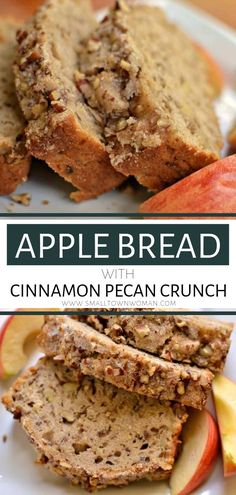 An awesome moist Apple Bread with Cinnamon Pecan Crunch! This fun fall treat is quick to come together and can easily be doubled. It is so easy to whip up, freezes well and tastes even better the second day. Save this sweet bread recipe for later! Apple Desserts, Apple Recipes, Fall Recipes, Baking Recipes, Dessert Recipes, Pecan Recipes, Apple Crunch Recipe, Lunch Recipes, Easy Desserts