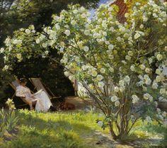 """P.S. Krøyer: """"Roser"""", 1893. Marie Krøyer og hunden Rap."""