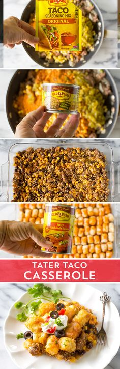 Combine the ultimate comfort food with the tacos you crave! This Tater Taco Casserole from /GirlWhoAte/ combines all the Old El Paso™ taco flavors you crave, with the comfort foot of a tater tot casserole. It's sure to be a hit with your hungry family! Mexican Food Recipes, Beef Recipes, Dinner Recipes, Cooking Recipes, Recipies, Savoury Recipes, Dinner Menu, Dinner Ideas, I Love Food