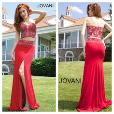 New arrival at Mia Bella. We are in love with this one of a kind dress by Jovani. Style 94221. Available in Red, White and Turquoise. mia bella couture. jovani. jovani fashions. red dress. embellished crop top. jersey skirt. slit. one of a kind. ootd.
