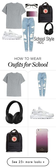 """School Style"" by anatiller on Polyvore featuring T By Alexander Wang, Topshop, NIKE, Fjällräven, Kate Spade and Beats by Dr. Dre"