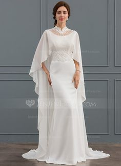 Trumpet/Mermaid High Neck Court Train Stretch Crepe Wedding Dress With Beading S. - Trumpet/Mermaid High Neck Court Train Stretch Crepe Wedding Dress With Beading Sequins Best Picture - Dresses Elegant, Nice Dresses, Formal Dresses, Crepe Wedding Dress, Wedding Gowns, Crepe Dress, Wedding Coat, Mermaid Dresses, Bridal Dresses