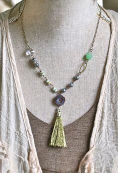 Elizabeth. bohemian beaded tassel necklace. by tiedupmemories