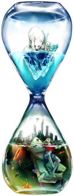 I love this image because it shows cold places as things that are running out of time. The hourglass shows the bottom with horrible pollution and the top as the pure Arctic. The arctic top is slipping down towards the polluted bottom. This metaphor symbolically represents what is truly going on with global warming. This image associates with the polar bear balancing on the small piece of ice, the picket sign, and the melting earth. The world as we know it is rapidly changing!