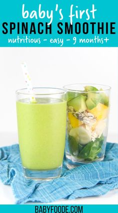 This Avocado Smoothie is a tasty first green smoothie for baby! Loaded with unsaturated fats from the avocado, protein from the yogurt and iron from the spinach, this smoothie can be served as a healthy breakfast, lunch or snack for baby. This easy smoothie is a healthy treat for toddler, kids, and adults alike. #baby #healthy #greensmoothie Baby Smoothies, Toddler Smoothies, Yummy Smoothies, Healthy Toddler Breakfast, Toddler Snacks, Breakfast Ideas, Veggie Recipes For Babies, Baby Food Recipes, Healthy Store Bought Snacks