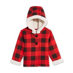 1ba7c4fc23d77 Faux fur lining gives our hooded plaid coat the extra warmth she needs for  fall.