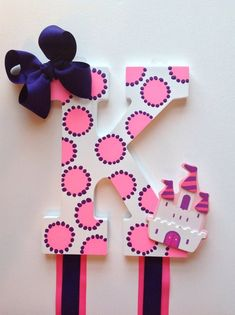 Items similar to NEW ITEM - Custom Hand Painted Hot Pink and Purple Polka Dot Castle Girls Toddler Boutique Initial Hair Bow Holder/Organizer W/Headband Loop on Etsy Painted Wood Letters, Wooden Letters, Hand Painted, Large Letters, Letter A Crafts, Monogram Letters, Alphabet Letters, Diy Headband Holder, Toddler Boutique