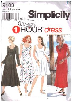 Fabric Patterns Simplicity 9103 Misses'/Miss Petite Dress with Sleeve and Length Variations Stretch Knit - Misses'/Miss Petite Dress with Sleeve and Length Variations Stretch Knit Sewing Pattern. Simplicity Sewing Patterns, Sewing Patterns Free, Clothing Patterns, Fabric Patterns, Pattern Sewing, Petite Dresses, Trendy Dresses, Simple Dresses, Dresses With Sleeves