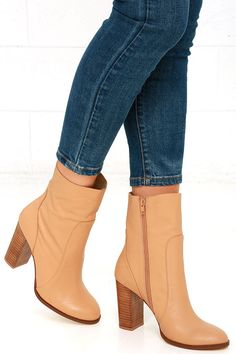 """Set the trends all of your friends are after with the Chinese Laundry Cool Kid Camel Leather Mid-Calf Boots! Ultra supple genuine leather covers a rounded toe upper, and carries into a mid-calf shaft with an 8"""" zipper at the instep."""