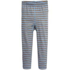 Joha - Blue Stripe Wool & Bamboo Thermal Leggings |