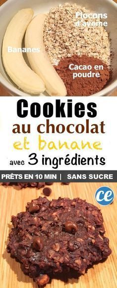 - Beauty & Health - La Délicieuse Recette des Cookies au Chocolat Avec SEULEMENT 3 Ingrédients The + Delicious + Recipe + of + the + Chocolate Cookies + + + With + 3 + ONLY Ingredients. Healthy Bread Recipes, Zucchini Bread Recipes, Healthy Banana Bread, Banana Bread Recipes, Gourmet Recipes, Healthy Snacks, Dessert Healthy, Healthy Zucchini, Vegan Recipes