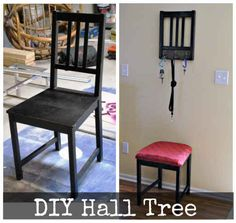 """Turn a used chair into a hall tree."" 