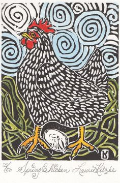 Spring Chicken, Hand Watercolored, Linoleum Block Print, Laurie Kitzke $55
