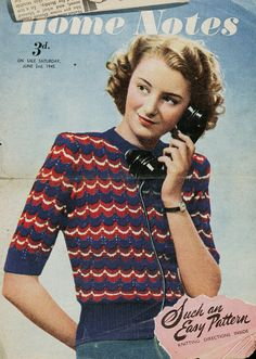 Vintage 1940s Red, White and Blue Victory Jumper - FREE Knitting Pattern / Tutorial