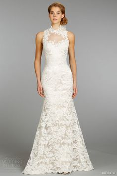 e770af45d171 jim hjelm fall 2013 bridal lace charmeuse modified a line wedding dress  high illusion neckline accented