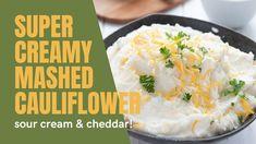 Ketogenic Recipes, Low Carb Recipes, Diet Recipes, Healthy Recipes, Keto Foods, Keto Side Dishes, Side Dish Recipes, Keto Mashed Cauliflower, Sour Cream