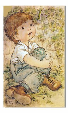 Sarah Kay - Love this! It reminds me of my son when he was little, and my grandson now. by imelda Sarah Key, Susan Wheeler, Mo Manning, Vintage Drawing, Holly Hobbie, Cute Illustration, Fabric Painting, Vintage Cards, Vintage Children