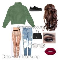 """""""Bts inspired outift"""" by rachel-ullmann on Polyvore featuring Yves Saint Laurent, Topshop, Lime Crime, Puma and Ray-Ban"""