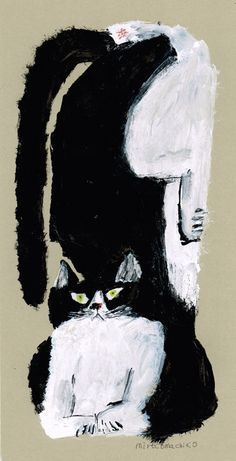 illustration by Mirocomachiko (Japanese: MIROCO, MachiKo) Art And Illustration, Cat Drawing, Painting & Drawing, Bad Painting, Image Chat, Art Brut, Cat Noir, Outsider Art, Crazy Cats