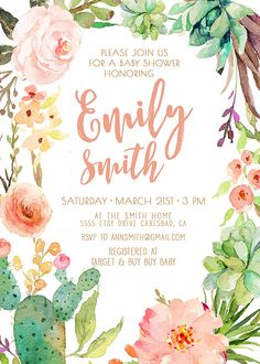 watercolor cactus and flower invitation