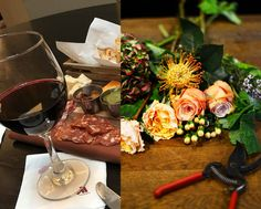 Flowers & Wine - the perfect pairing. Learn elements of floral design while tasting a variety of wines from one of our local restaurants. Flowers Wine, All Flowers, Chicago Tours, Light Snacks, Area Restaurants, Wine Design, Wine List, Group Activities, Team Building