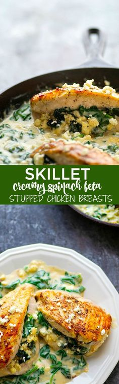 Stuffed with a flavorful spinach feta filling and smothered in a creamy spinach sauce, these spinach feta stuffed chicken breasts look like fancy dinner food, but they are ready in under an hour with minimal ingredients!