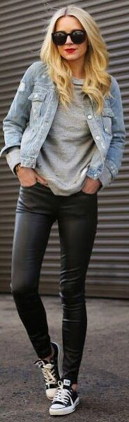 Leather trousers and black cons
