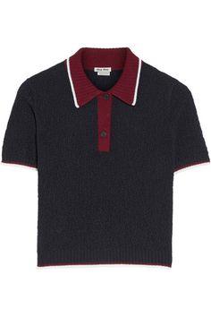 Polo court  tendance en laine gris et bordeaux Miu Miu