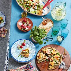 This isn't your typical pizza party. Fresh-from-the-garden ingredients like summer peaches and basil top this grilled pie. Set the table with a big green salad, plenty of pizza, and fresh Parmesan cheese for topping. Invite List: 8 Guest Type: Friends who love dining outside/