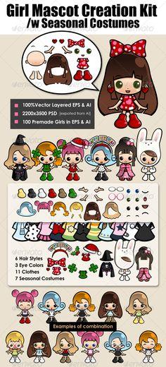 Girl Mascot Kit with Seasonal Costume — Vector EPS #easter #christmas • Available here → https://graphicriver.net/item/girl-mascot-kit-with-seasonal-costume/577071?ref=pxcr