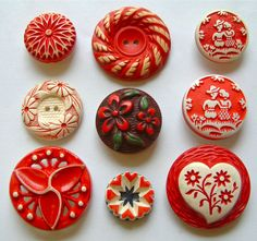 9 Vintage Red & White Floral Buffed Celluloid Buttons, Hearts, Flowers & More
