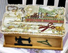 favorite home to visit Decoupage Box, Wooden Shapes, Sewing Box, Painting On Wood, Decorative Boxes, Shabby Chic, Paper Crafts, Diy, Crafty