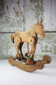 Vintage Hand Carved Wooden Rocking Horse Primitive