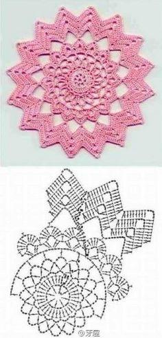 New Crochet Granny Square Chart Yarns Ideas Crochet Doily Diagram, Crochet Flower Patterns, Crochet Chart, Thread Crochet, Crochet Motif, Crochet Flowers, Diy Crochet, Crochet Coaster, Tatting Patterns