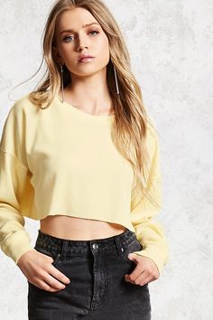 cae3ce72ce A waffle knit crop top featuring a crew neck