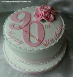 cake designs for birthday Grandma Birthday Cakes, Round Birthday Cakes, Number Birthday Cakes, Adult Birthday Cakes, Birthday Cakes For Women, 90th Birthday Invitations, 90th Birthday Parties, 90 Birthday, Birthday Table