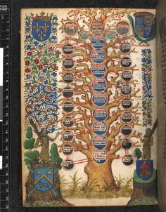 Table of Virtues in the form of a tree, with coats of arms, a partial rinceaux border, and two wild men wielding clubs.