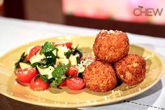 Michael Symon's Arancini with Tomato Zucchini Salad recipe. #thechew