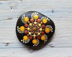 Large Painted Rock Fall Tree Dot Art Stone от P4MirandaPitrone