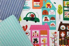 Moda Fabrics, Hello Friend, Houses Cloud