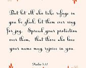 Inspirational Bible Quote Art- Psalm 5:11- 8.5X11 Printable - BV-171