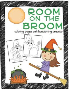 Room on the Broom coloring pages for kids with handwriting practice!