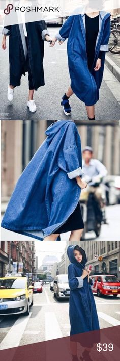 """Open front Denim longline hoodie wind coat Blue, Denim with hoodies, great for later summer and fall, winter. Bust and waist is open, US S-Asian M length: 40"""", US M-Asian L: length 41 """" US L-Asian XL 42"""", US XL-Asian XXL: length 43"""". Jackets & Coats"""