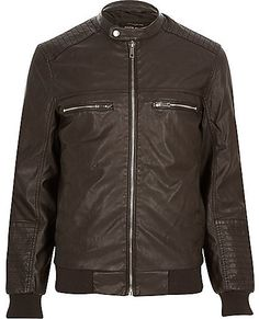 $130, Dark Brown Leather Bomber Jacket: River Island Dark Brown Leather Look Bomber Jacket. Sold by River Island. Click for more info: https://lookastic.com/men/shop_items/293153/redirect